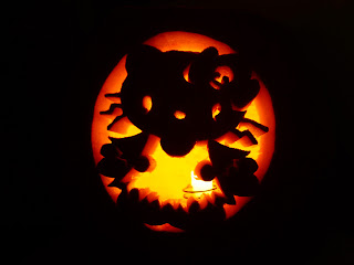 Hello Kitty zombie carved jack o'lantern pumpkin