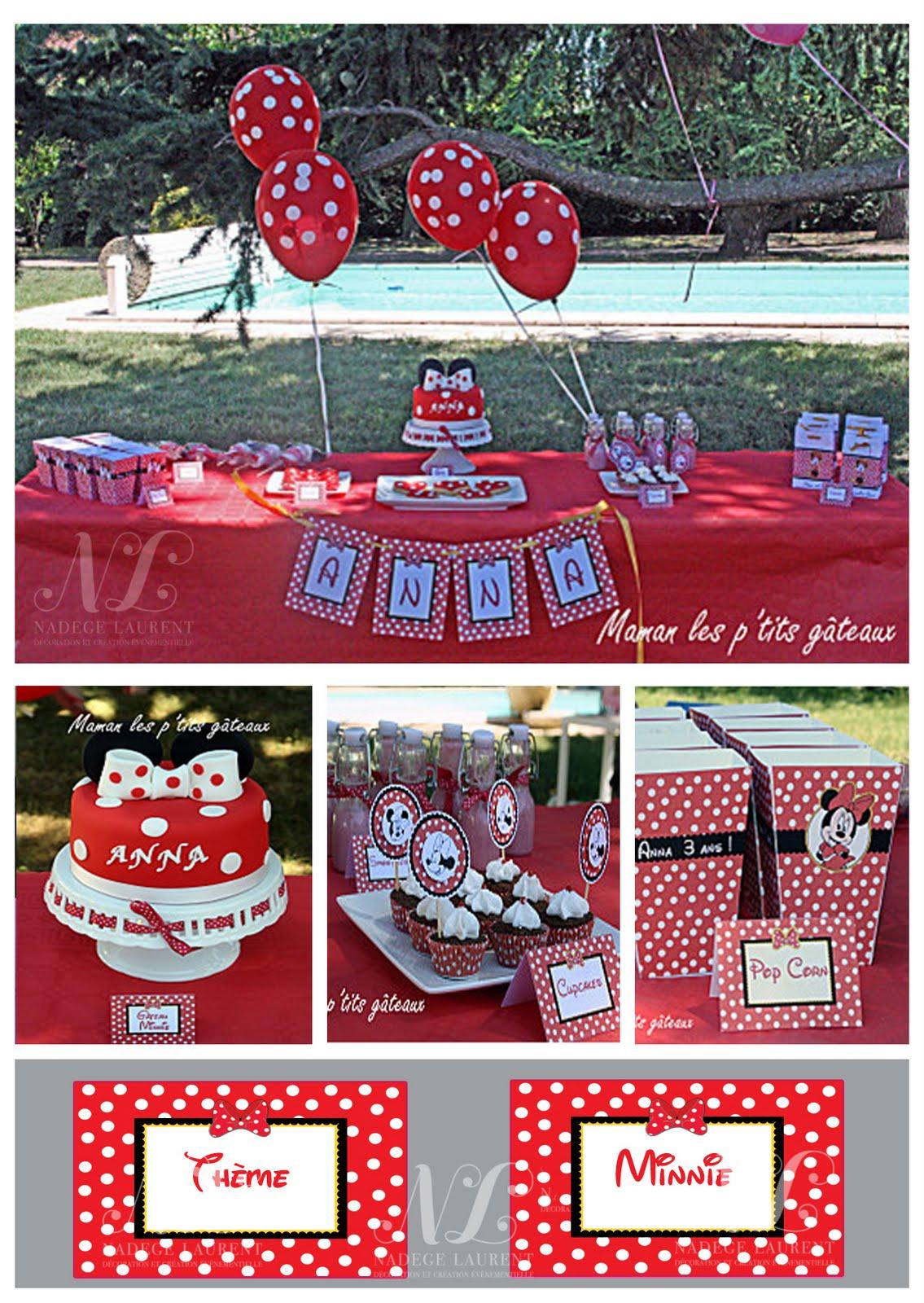 Plusieurs photos de gourmandises pour un anniversaire rouge et blanc thème Minnie