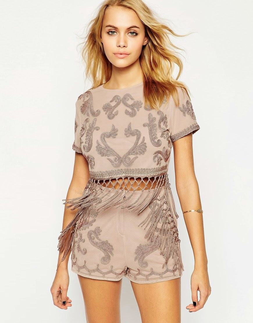 fringe top and fringe shorts set