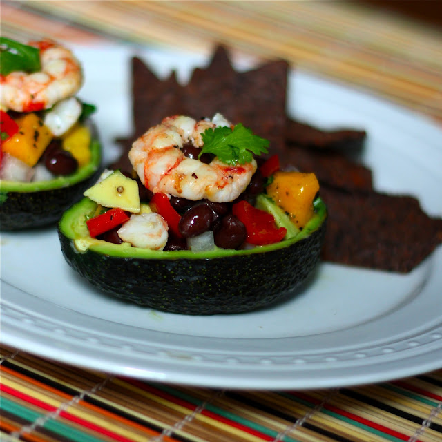 Mango-Black Bean Shrimp Salad in Avocado Bowls - Get Off Your Tush and ...