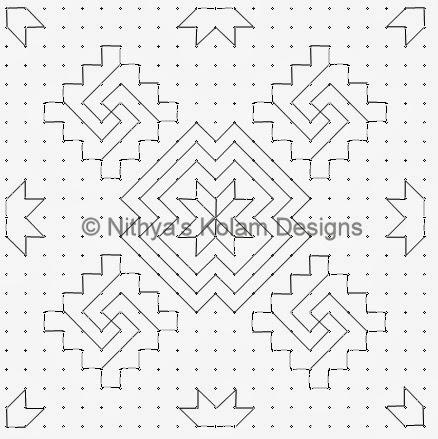 3 Kolam 105: Lines Kolam 23 to 23 dots