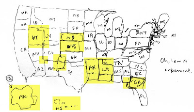 Hand=drawn map of the U.S. with yellow highlights on the worst mistakes