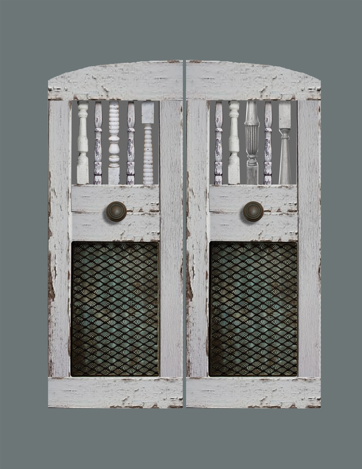 Handcrafted custom swinging saloon doors - Custom Swinging Saloon Doors Featuring Antique Spindles And Embossed Metal Baking Pans