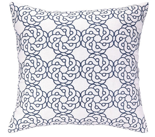 Navy Maroc COCOCOZY for Peking Handicraft embroidered pillow graphic print