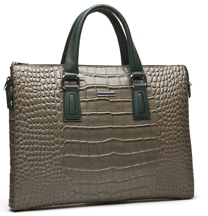 Modern Mens Fashion Crocodile Business Messenger Brown Bag