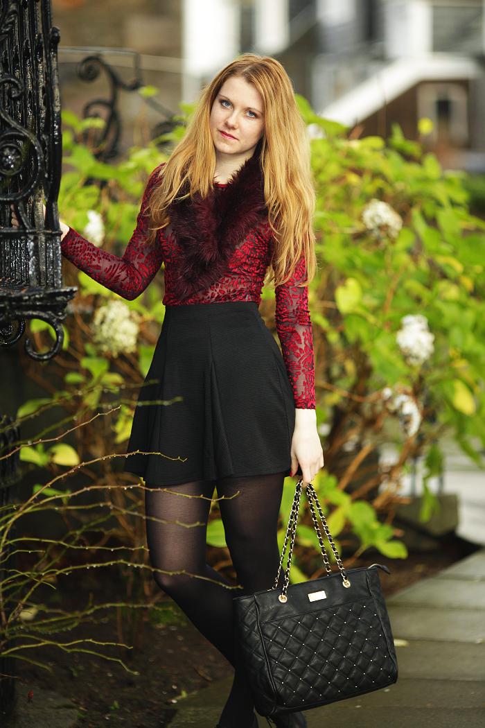 lucie srbova, maroon top, sheer top, fur, módní blogerka, nejlepší