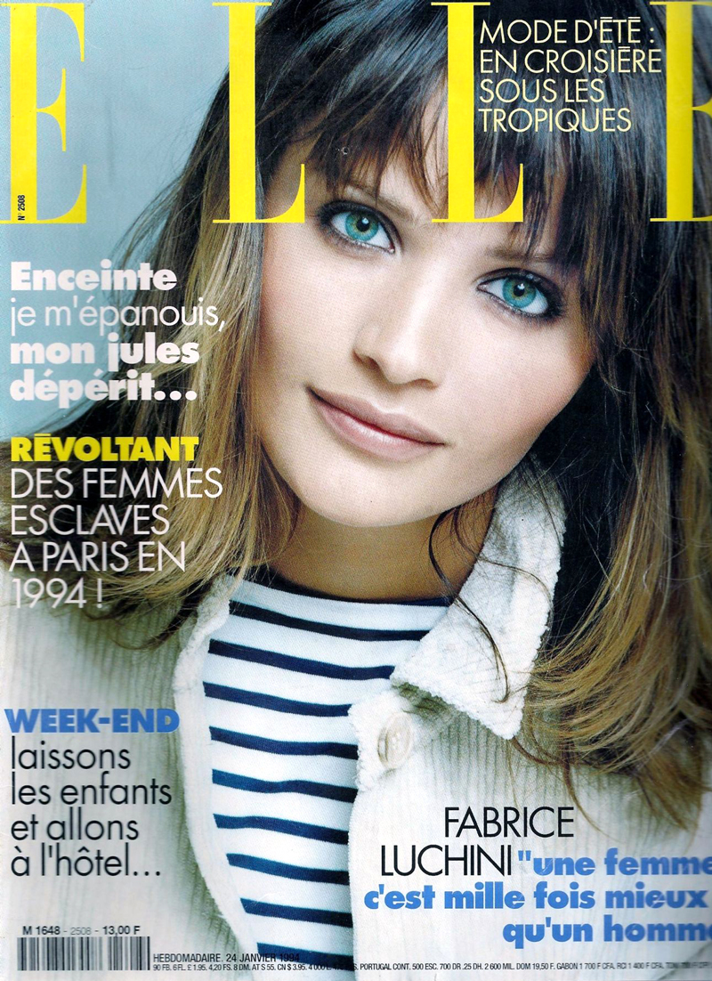 breton top / how to style breton top / story of breton stripes / Helena Christensen in Elle France January 1994 via fashioned by love british fashion blog