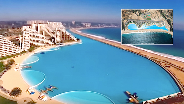 World 39 s largest swimming pool san alfonso del mar for Largest swimming pool