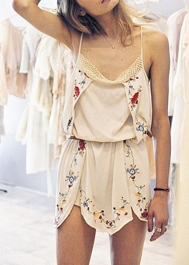 New embroidered mini summer dress fashion