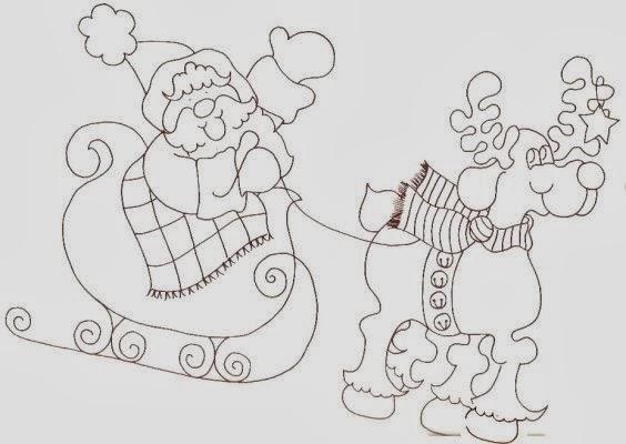 imagens de papai noel no trenó para colorir - Artes da Nil Riscos e Rabiscos Papai Noel no trenó