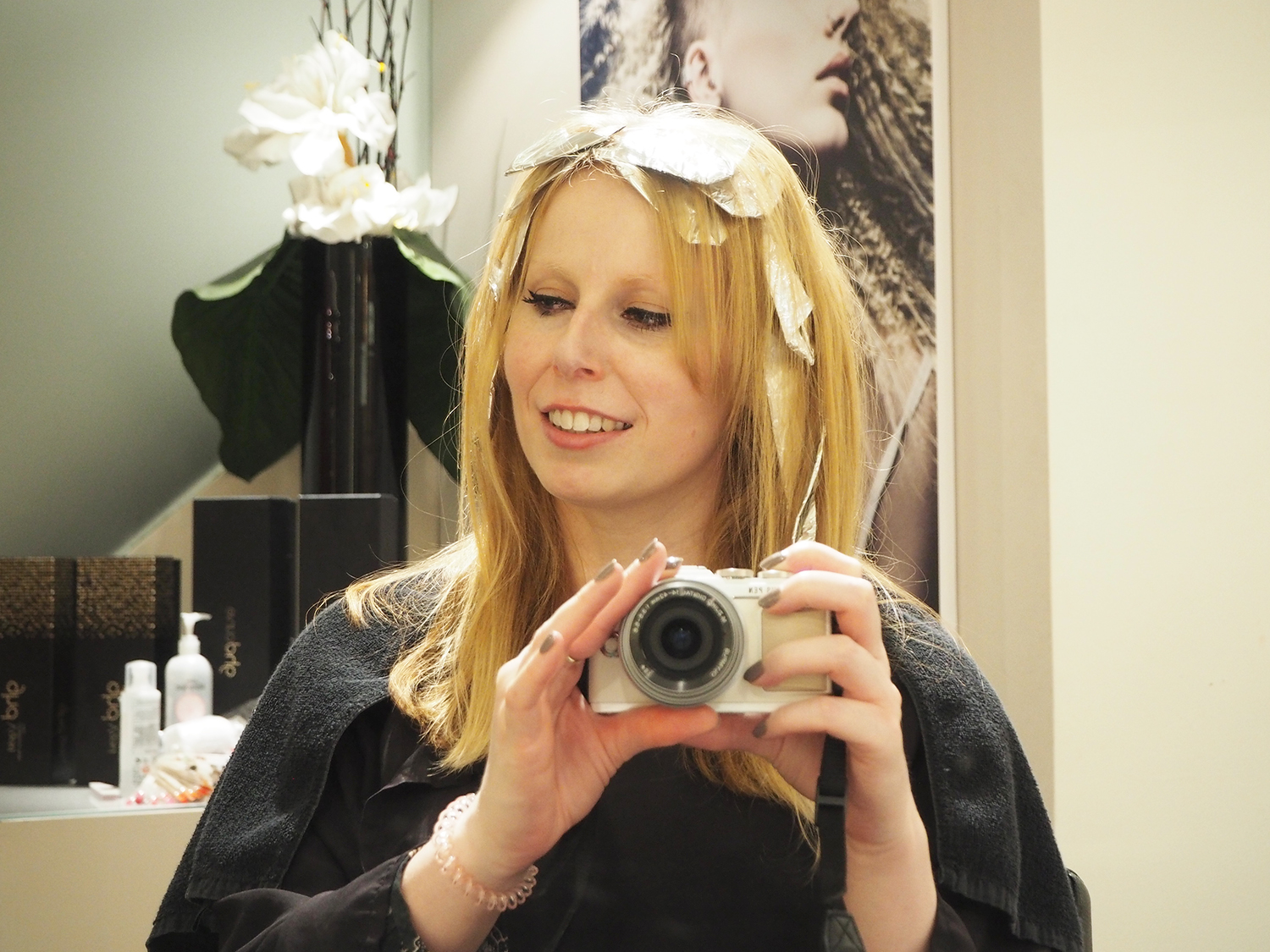 Hair: colour strobing at Chalres Worthington London in progress