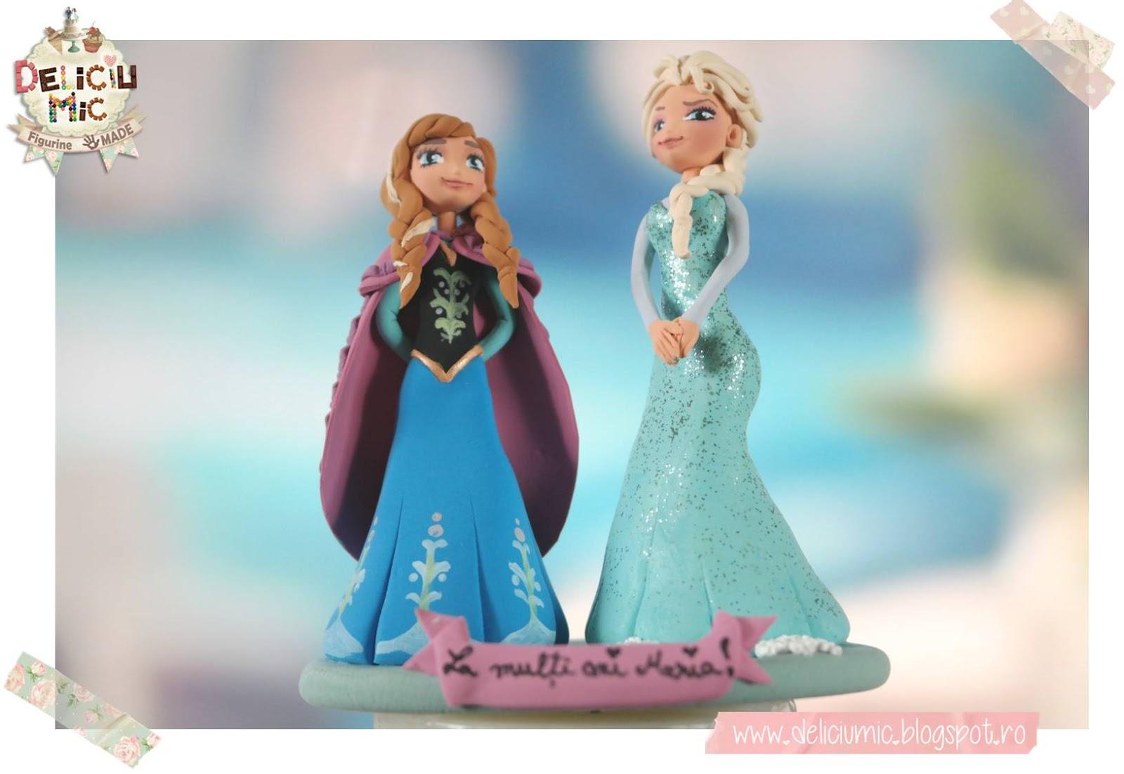 Figurine de tort Frozen: Anna si Elsa