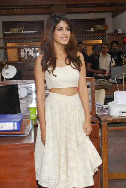 Rhea Chakraborty in White Ghagra CHoli on the Sets of Movie Bank Chor in Mumbai