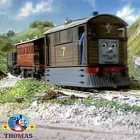 Passenger railroad transport coach Henrietta Toby the tank engine rang his shiny brass cowbell chime