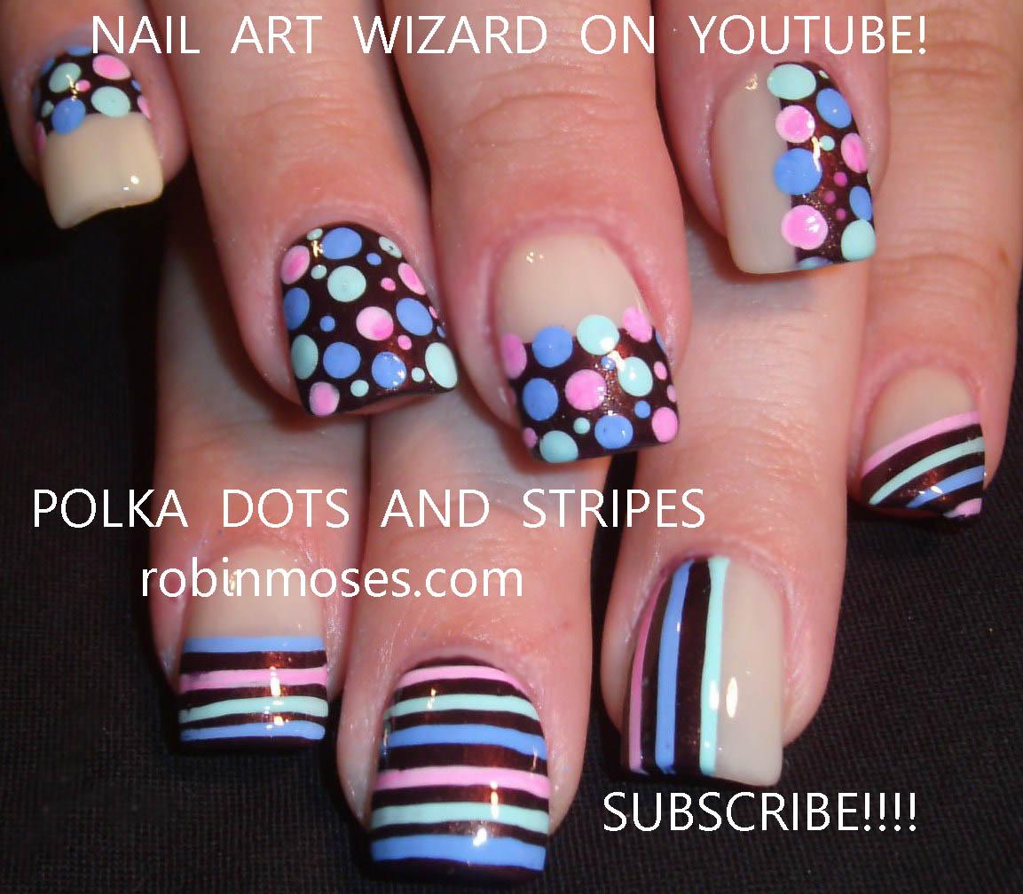 Nail Art Design Baby Shower Nails Polka Dots And Stripe Nails
