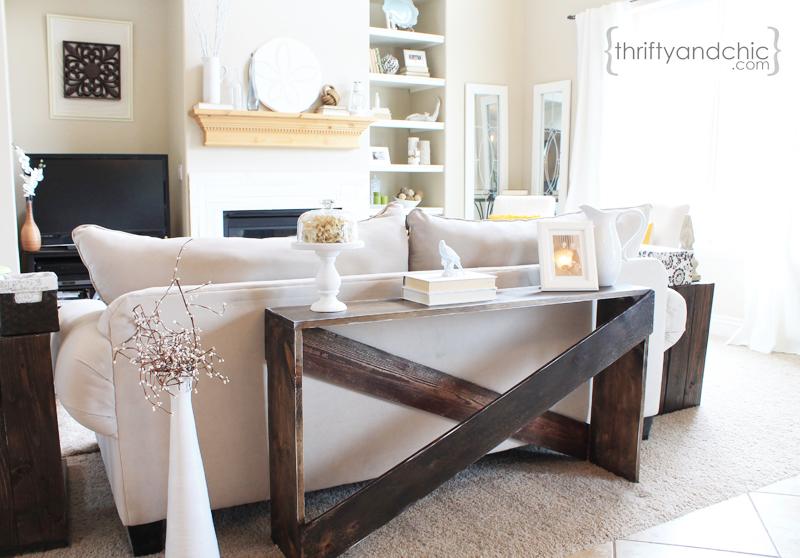 x sofa table tutorial - Sofa Table Decor