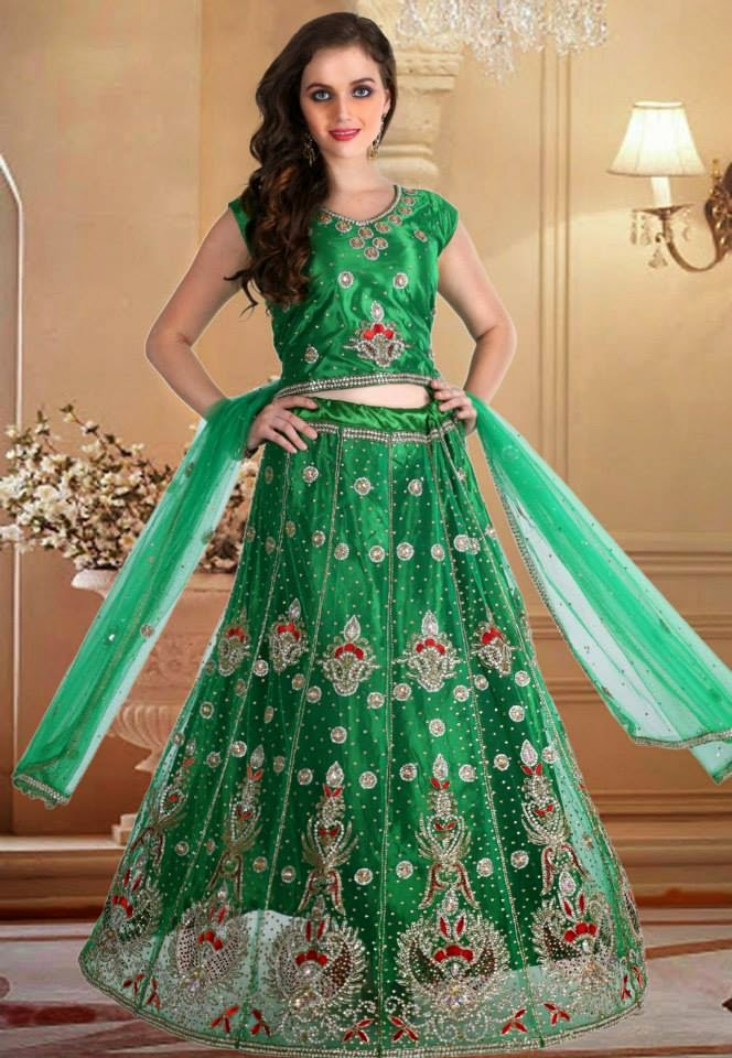 Green Net Readymade Lehenga Choli with Dupatta.