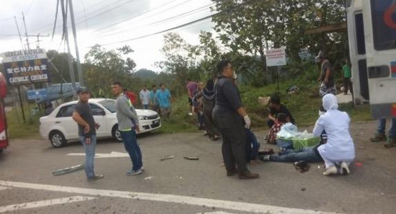 Bas Express Tawau-KK Jatuh Gaung di Kg Kiau, Ranau