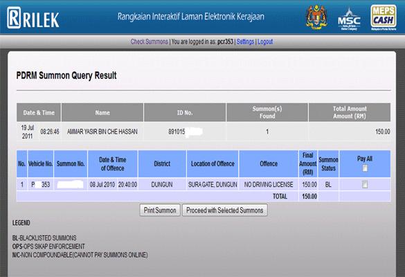 Semak Saman Polis Trafik (PDRM) Dan JPJ Melalui Online Dan SMS