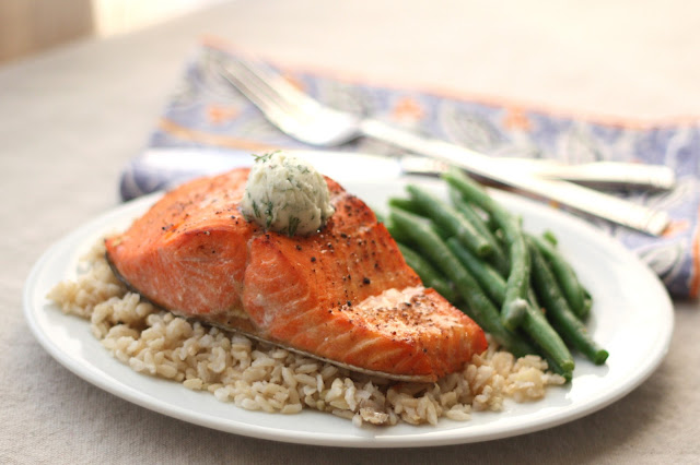 Broiled Salmon with Peppery Dill Compound Butter recipe by Barefeet In The Kitchen