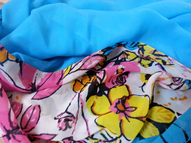 shawl chiffon 2 layer printed sky blue