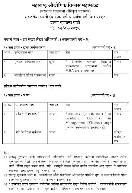 MIDC Bharti 2014 - 2015 Result