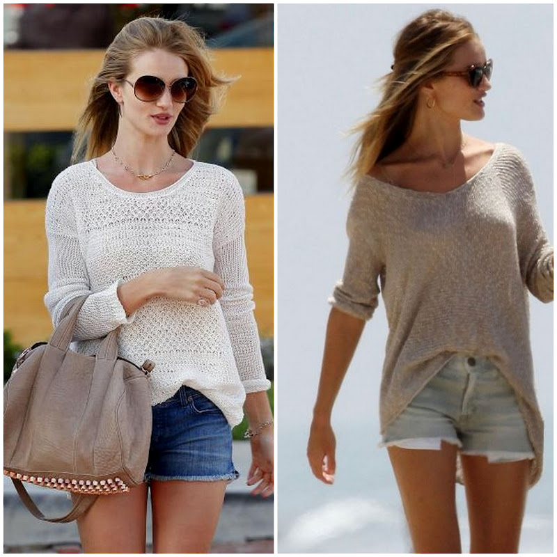 Rosie Huntington has perfected the sweater and jean short look!