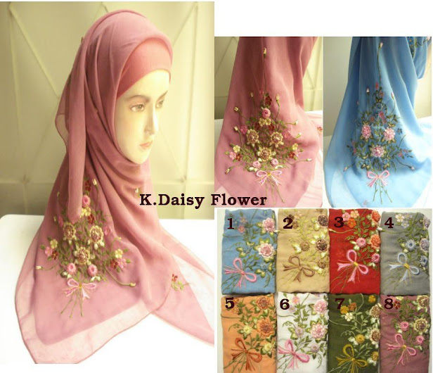 PRE-ORDER : TUDUNG SULAM DAISY FLOWER - RM 50 each