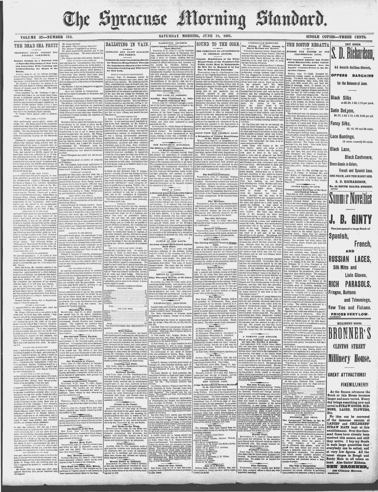 """Climbing My Family Tree: """"Justifiable Homicide"""" Strauss McClure fight The Syracuse Morning Standard, June 18, 1881"""