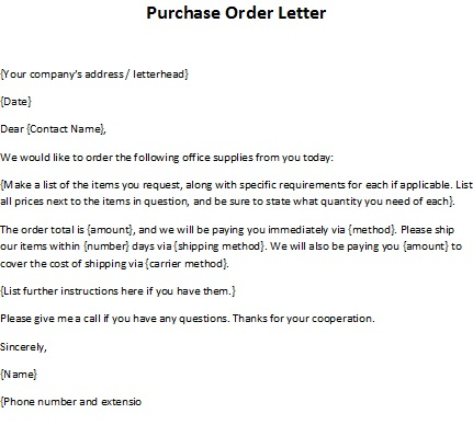 Order letter sample purchase order letter for Purchase order email template