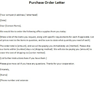 purcahse order letter sample, order letter sample, purchase order letter template