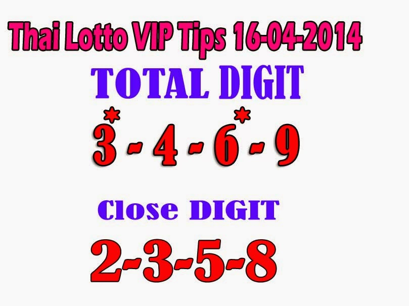 Thai Lotto Total & CLose Digit 16-04-2014