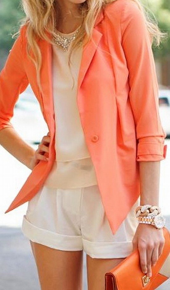 street style: chic coralblazer with soft white top and shorts