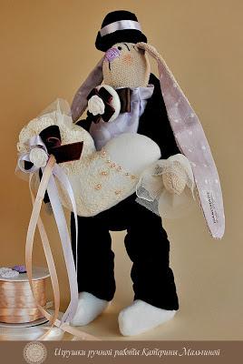 Свадебные зайцы в зефирно-лавандовом образе