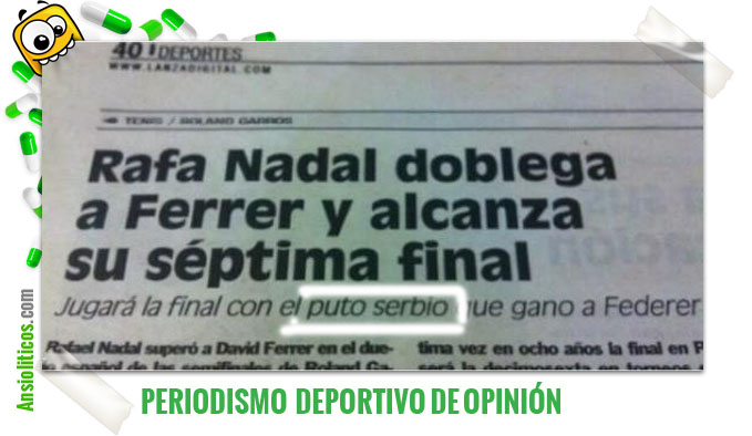 Chiste de Recorte de Periódico: Puto Serbio de Djokovic
