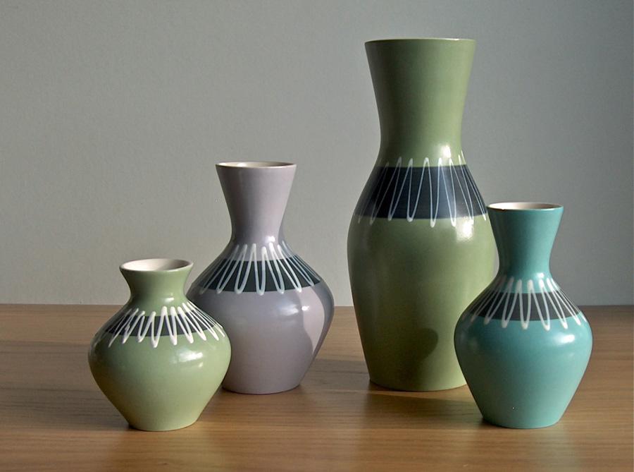 Potshots: Hornsea slipware vases. Smart zig-zags from 1963 Hornsea Pottery