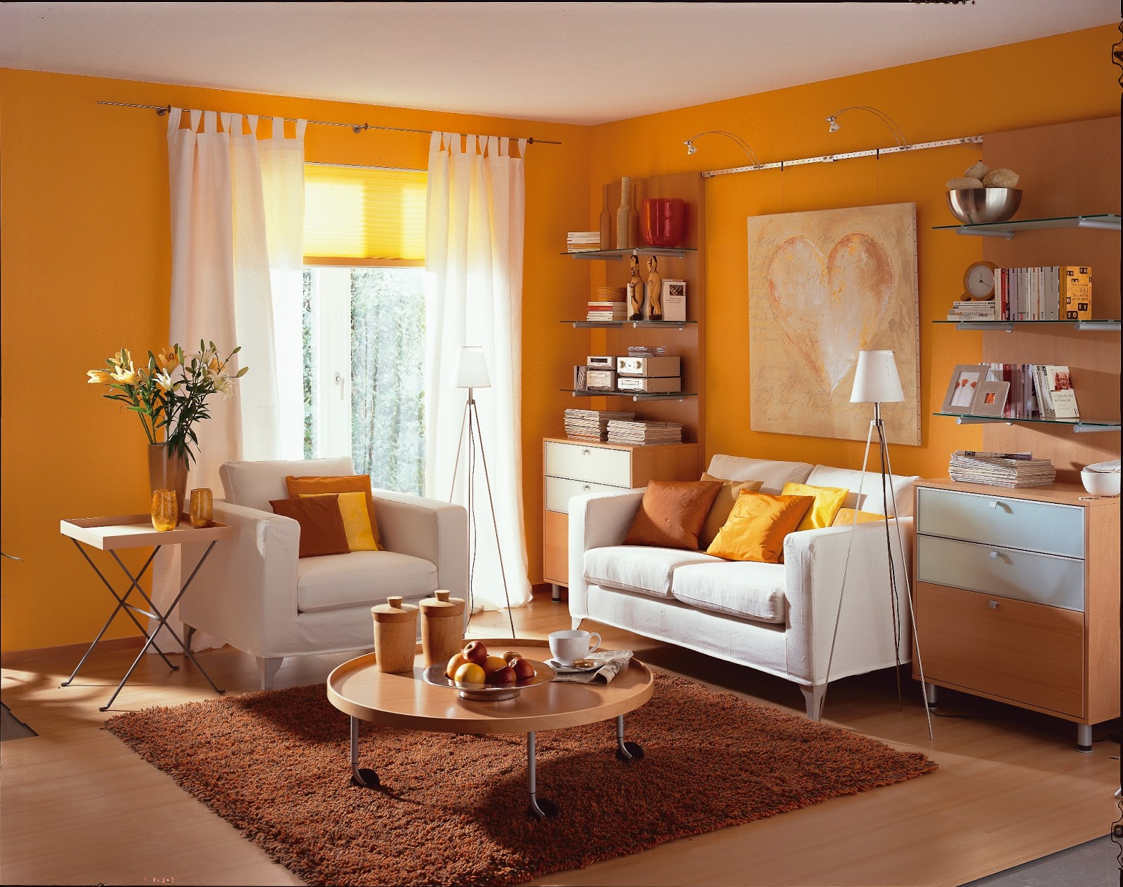 Salas color naranja ideas para decorar dise ar y for Decoracion paredes sala