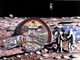 Concept art for an inflatable dome providing support for 6-12 colonist on the moon as part of a NASA plan for a lunar outpost.