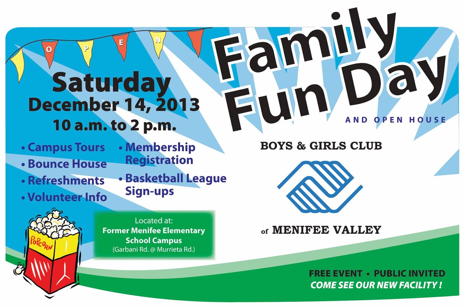 family fun day at menifee valley boys girls club dec 14 menifee