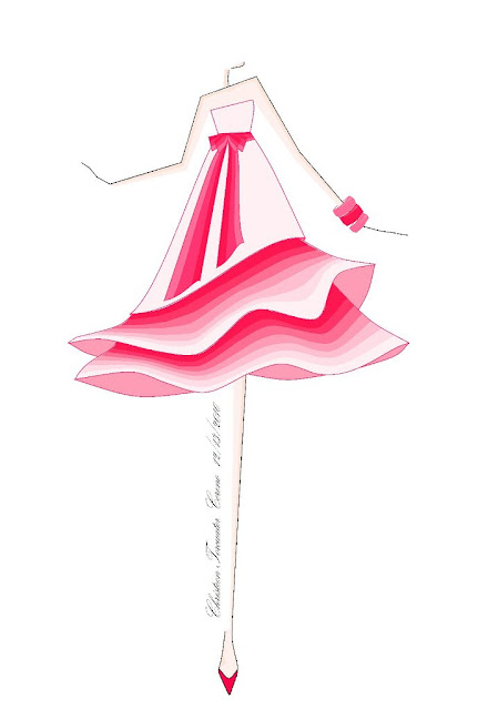 Pink Candy DressArt, Pink Dress - one of my first fashion illustration using piaint softwear. I draw a dress that looks like a candy