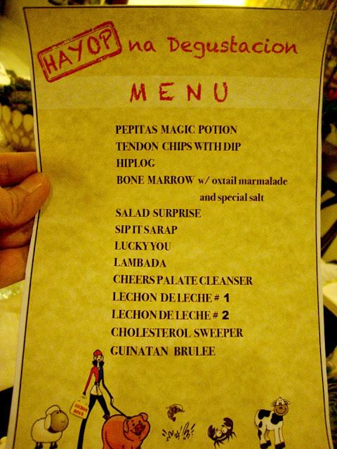 Hayop na Degustacion menu