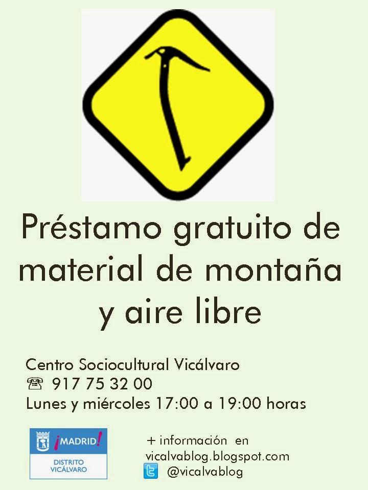 Préstamo gratuito de material de montaña y aire libre en Vicálvaro