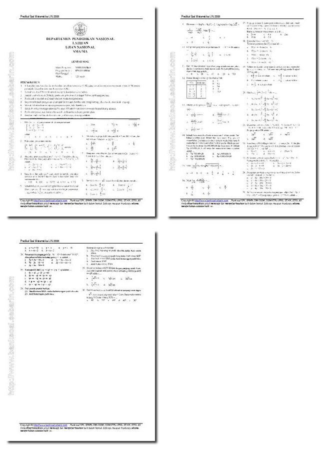 Pusatnya Download Soal Gratis Prediksi Soal Matematika Un 2008 Sma