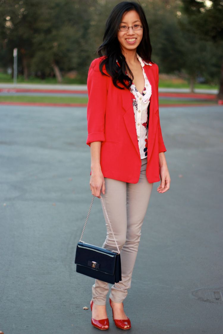 red blazer outfit ideas colored denim