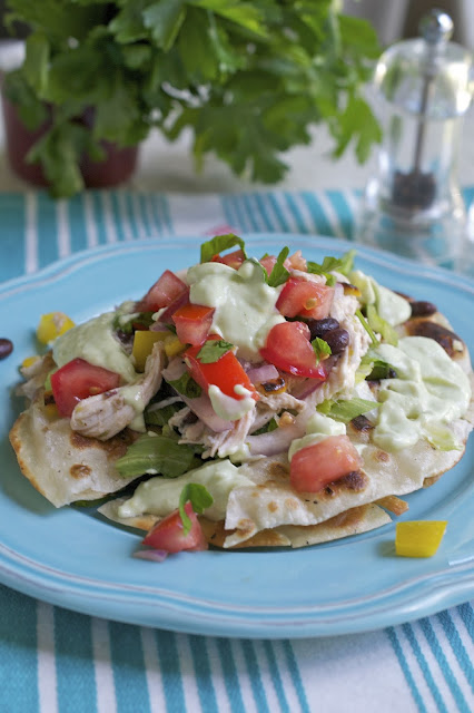 more than burnt toast: Chicken Tostada Salad with Yogurt-Avocado ...