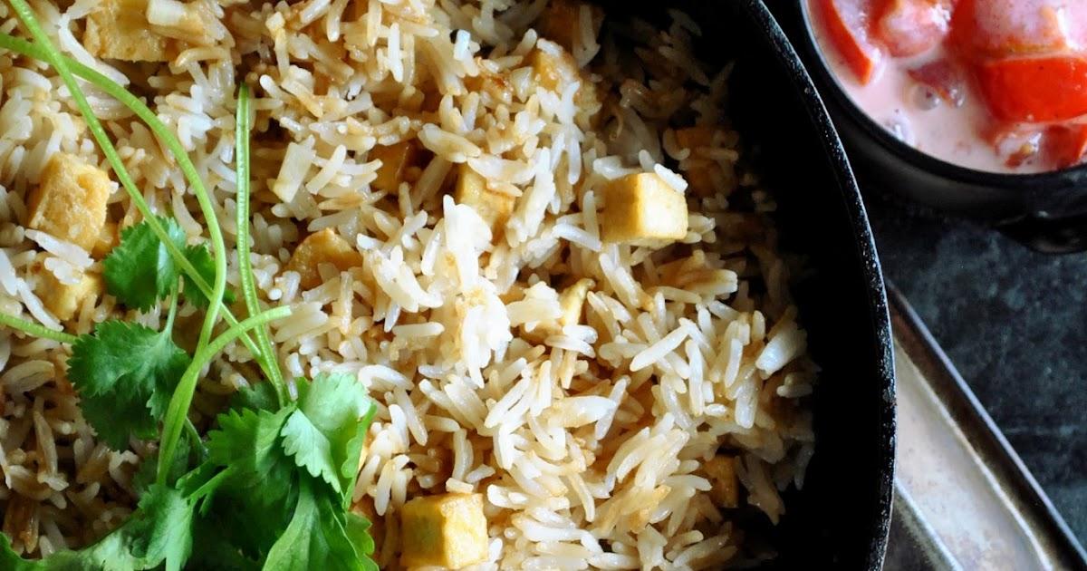 Garlic fried rice with crispy tofu and creamy tomato salad ...