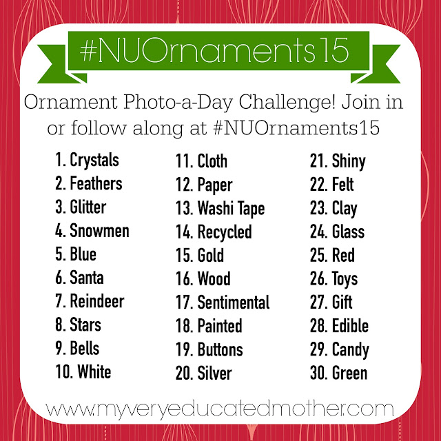 #NUOrnaments15 Here's the master list for the No Ugly Ornament Photo a Day Instagram Challenge hosted by @mvemother! It's always fun to see what kind of good, bad, and just plain crazy ornaments are out there! Be sure to join in the fun by using the hashtag in the photo!