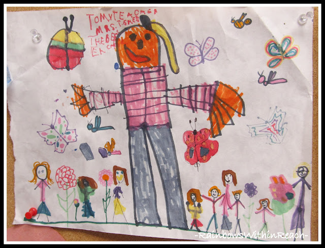 photo of: Scarecrow Drawing in Kindergarten (Fall RoundUP via RainbowsWithinReach) 