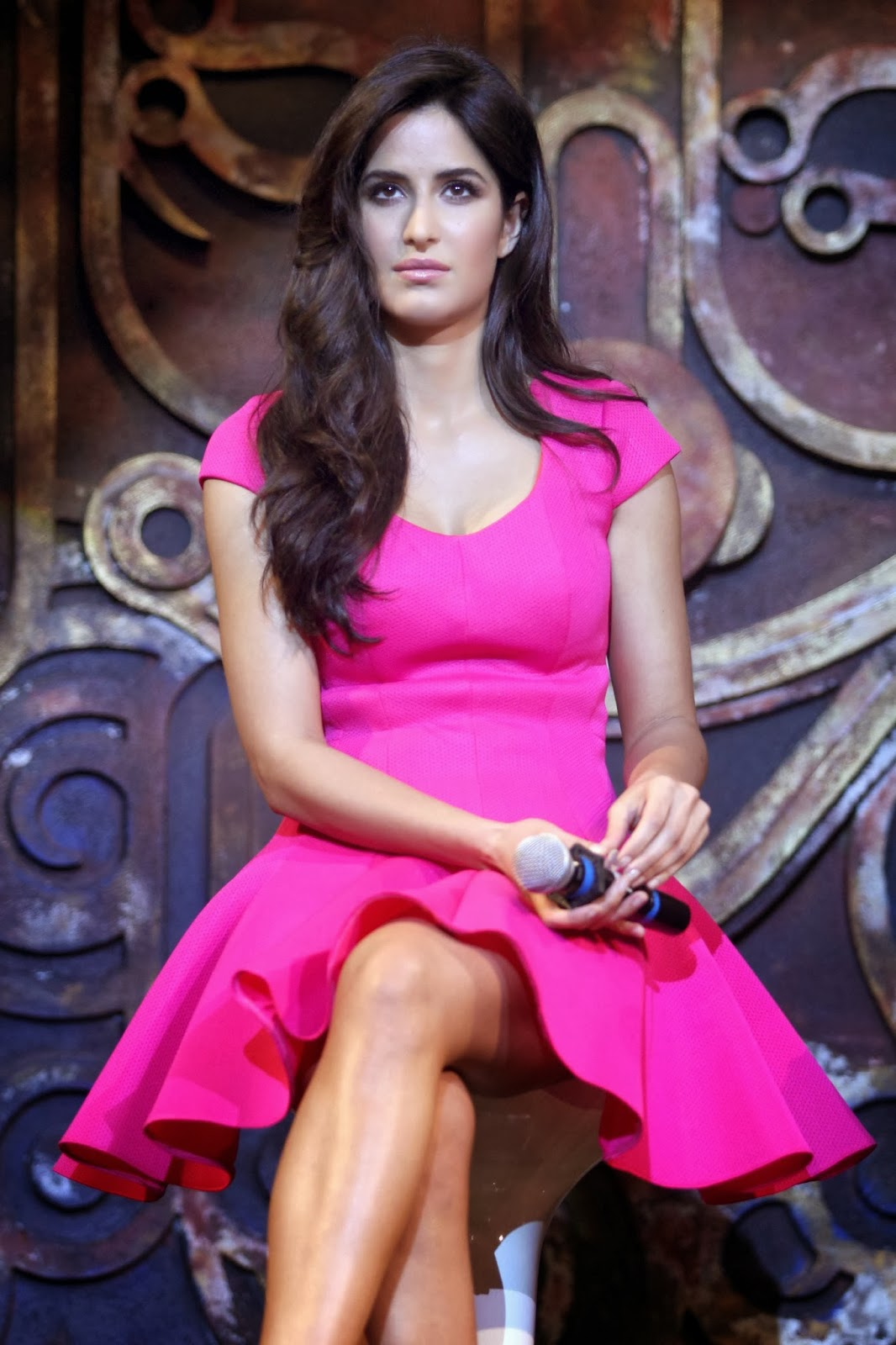 Katrina Kaif in Rare Public Appearance Pink Micro Short Dress Spicy Photos Dhoom 3 Song Launch
