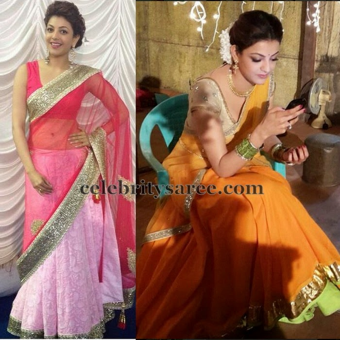 Kajal Light Orange Pink Half Sarees